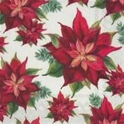 Servietter Poinsettia Linen Lunch 20 pk