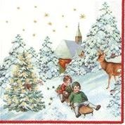 Servietter Annual Christmas Snow Kaffe 20 pk